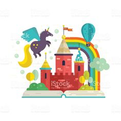Illustration of Illustration of a book with fairycastle inside. Flying unicorn, balloon, rainbow and other magic elements. vector art, clipart and stock vectors. Free Vector Graphics, Free Vector Art, Free Kids Books, Castle Illustration, Kids Castle, Unicorn Images, Animal Body Parts, Magic Book, Royalty Free Images