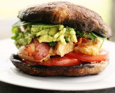 Chicken Bacon and Guacamole Mushroom StackNutritional Facts: Servings1 555 calories 46.5 g fat 23 g carbohydrates 17.75 g protein 735.5 mg sodium 10.75 g dietary fiber