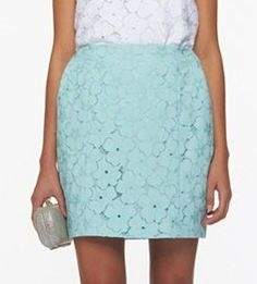 pale blue floral lace skirt