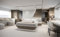 Princess Yachts has released details surrounding the company's newest flagship, the Flybridge Luxury Yacht Interior, Futuristic Interior, Luxury Bedroom Design, Bedroom Bed Design, Boat Interior, Bedroom Furniture Design, Bathroom Interior Design, Modern Bedroom, Br House
