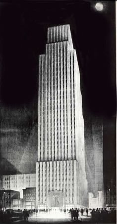 Spotlight: Raymond Hood,Daily News Building, 1929-30, Drawing by Hugh Ferriss. Image © Wikipedia User: Dover Publications licensed under CC BY-SA 3.0