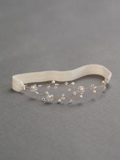 Ivory Bridal Garter  Pearl Bridal Garter  Crystal Vine