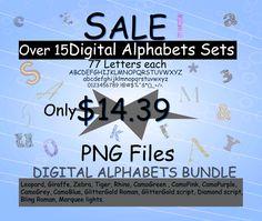 digital alphabet clipart / digital alphabet bundle /glitter gold, leapard, giraffe, zebra, tiger, rhino, camo green pink purple, script by ArcsMultidesignsShop on Etsy