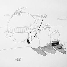 【siny0911】さんのInstagramをピンしています。 《I have a bite.  釣れた。  #koneta#shinogura#resinfigure#resintoy#illustration#arttoy#designer#popbee#instaartist#instagram#creepycute#baby#fairy#art#artist#whale #釣り #海 #fishing #続編 #results #sea #そして#寝た》