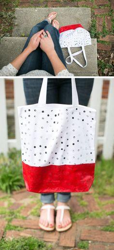 DIY West Elm Initial Tote Bags   http://hellonatural.co/diy-west-elm-initial-tote-bags/