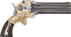 Engraved Marston 3-barreled pocket pistol ... I wonder if this would fit in my bra!?! LoL