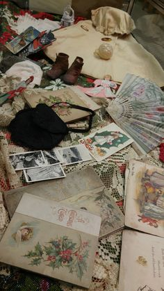 """6 Dec 2015 Theme: """"Christmas Memories"""" This case contains a wonderful collection of items from the late 1800s to the early 1900s. On loan from Gail Meloy."""