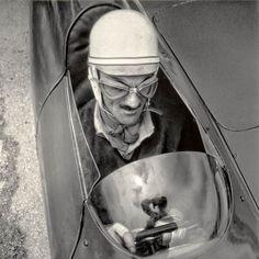 Foto:Carlo Mollino im Rennwagen