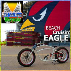 BVB EAGLE Big Vintage Bicycle makes These huge Fat tire beach cruiser bikes. Custom made to order to fit your body size. fat bike old school steampunk bicycle ratrod balloon tire, fat tire custom electric lowrider