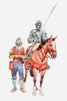 Title: Illustration of Spanish conquistador on horse holding shield and sword with foot soldier nearby Photographer: Dorling Kindersley