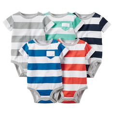 "Carter's Boys 5 Pack Striped Assorted Color Short Sleeve Bodysuit with Pocket Detail - Carters  - Babies""R""Us"