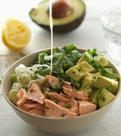 This low-key recipe calls for fresh salmon, but you can also totally use the canned stuff. Get the recipe here. Per one serving: 284 calories; 23 grams protein