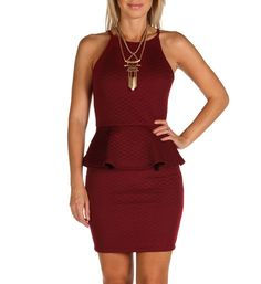 Burgundy Quilted Peplum Dress