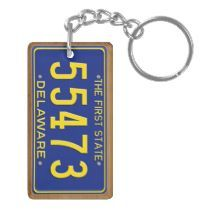 Metal Ring Key Chain Keychain Keep Calm and Love Delaware State Logo