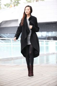 Black Bud Cashmere Coat Long Woolen Winter Coat Long Sleeves Wool Jacket Woman outwear - NC197. $169.99, via Etsy.  This designer is from China and has several brilliant pieces for sale on Etsy.