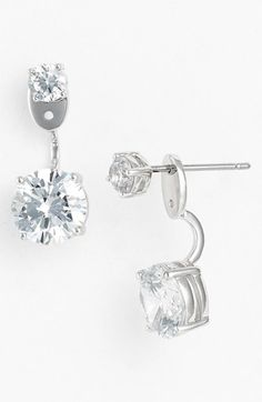 Nadri CZ Drop Earrings, silver