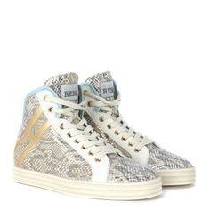 Laterale Sneaker alta Hogan Rebel R182 in camoscio stampa rettile beige e dorata