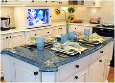 blue granite kitchen island - Google Search