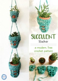 Use this free crochet pattern to bring some greenery into your decor!  This modern succulent hanger is a fast and beginner friendly pattern that can be easily adapted to your preferences.  Use it to display succulents or as a DIY herb garden in your kitchen. #darngoodyarn