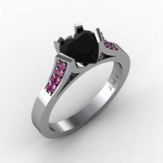 Gorgeous 14K White Gold 1.0 Ct Heart Black Diamond Pink Sapphire Modern Wedding Ring, Engagement Ring for Women R663-14KWGPSBD