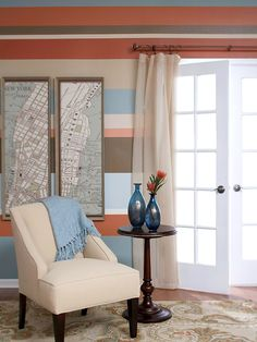 Love the fun stripes and the framed map. This is a great way to add interest, while keeping the furniture neutral. The map could be of my hometown, the place I met my significant other, or my favorite vacation spot! I could also do a fabric printed map on canvas, take the glass out and use it as a pin board for places I've been or want to go!