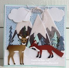 Craftables fox by Marleen Christmas Cards, Christmas Ornaments, Marianne Design, Cardmaking, Bergen, Stencils, Moose Art, Kids Rugs, Layout