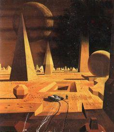 Dean Ellis - cover art for The Veils of Azlaroc, Fred Saberhagen Trippy, Art Science Fiction, Rukia Bleach, Arte Sci Fi, 70s Sci Fi Art, Futuristic Art, Environmental Art, Fantastic Art, Horror Art