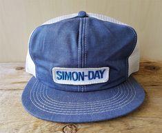 Vtg 80s SIMON-DAY Denim Mesh Trucker Hat Snapback Baseball Cap K Brand  Canada   ff4d2fcae3a3