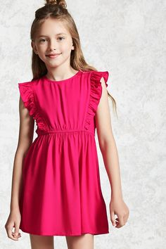 Forever 21 Girls - A woven mini dress featuring ruffled pleats along the shoulders, cap sleeves, round neckline, elasticized waist, and an exposed back zip closure.