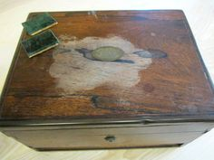 The polished surface of this beautiful Victorian box has been badly damaged by the owner's over-zealous use of metal cleaner and will need to be completely stripped back and re-polished.