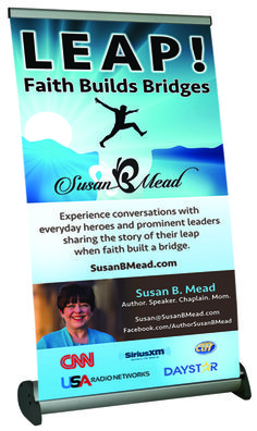 """Susan Mead wanted to let her community know about how her podcasts can make a difference. This 15.5"""" w x 35""""h table top banner looks great at any event. Learn more at www.backoftheroomproductions.com"""