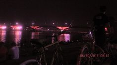 The lake and the bridge under the night