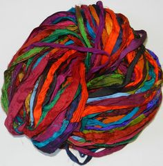 Recycled Sari Silk Ribbon Yarn multi 1 65 yards  by JuliaLCraft, $11.00