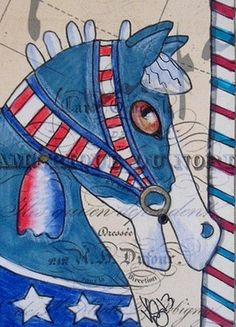 "Aceo Original ""CAROUSEL PATRIOTIC HORSE"" pencil/ink on paper ON EBAY"