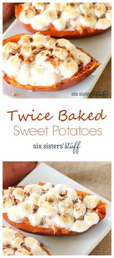 Twice Baked Sweet Potatoes from @sixsistersstuff | If you love sweet potatoes as much as we do, these twice baked ones are a must try! These could probably be eaten as a dessert, but we love throwing them in with our Turkey on Thanksgiving.
