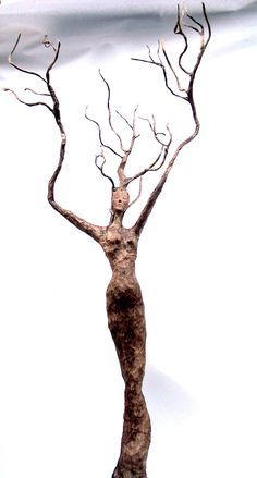paper mache, tree spirit She grows into a tree & the twig will fall from the tree & stick straight up from the ground. Forming another tree spirit Paper Mache Projects, Paper Mache Clay, Paper Mache Sculpture, Paper Mache Crafts, Sculpture Art, Paper Mache Tree, Paper Sculptures, Sculpture Ideas, Ceramic Sculptures