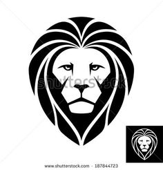 Black and White Lion Head | . Works well as a mascot image. A Lion head icon in black and white ...