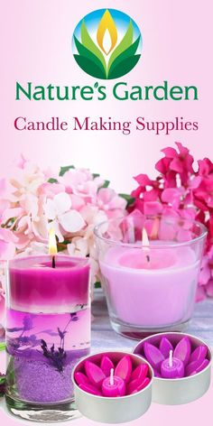 Candle Making Supplies by Natures Garden. Garden Candles, Diy Candles, Making Candles, Natural Candles, Glass Candle Holders, Candle Jars, Homemade Scented Candles, Scented Wax, Candle Making Business
