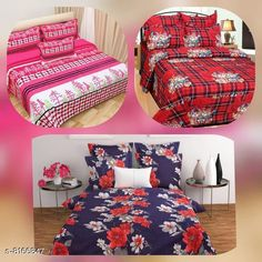 Bedsheets Microfiber Printed Double Bedsheet Combo 90 in x 90 Fabric: Microfiber No. Of Pillow Covers: 6 Thread Count: 160 Multipack: Pack Of 3 Sizes: Queen (Length Size: 90 in Width Size: 90 in Pillow Length Size: 28 in Pillow Width Size: 17 in)  Description: It Has 3 Piece Of Double Bedsheet With 6 Pieces Of Pillow Covers Country of Origin: India Sizes Available: Queen   Catalog Rating: ★4.1 (424)  Catalog Name: Gorgeous Classy Bedsheets CatalogID_1357861 C53-SC1101 Code: 466-8166847-5961