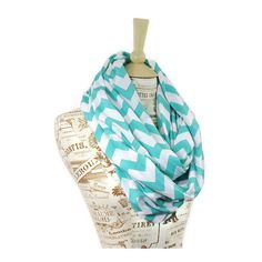 SALE Chevron Infinity Scarf Jersey Tiffany Blue Aqua Loop ($23) ❤ liked on Polyvore