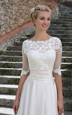 3877 - Beatrice - Sincerity 3877 Satin ball gown wedding dress with lace jacket at Blessings of Brighton