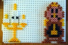 Lumiere and Cogsworth - Beauty and the Beast hama perler beads by deco. Hama Beads Disney, Hama Disney, Melty Bead Patterns, Pearler Bead Patterns, Perler Patterns, Beading Patterns, Perler Bead Templates, Diy Perler Beads, Perler Bead Art