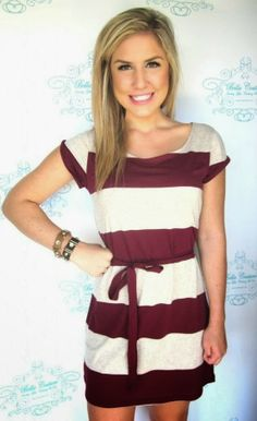 I need this cream and garnet striped FSU game day dress