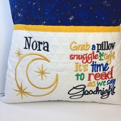 Personalized Gifts Storybook Pillow Reading pillow Night Book Pillow, Reading Pillow, Pillow Talk, Fall Pillows, Kids Pillows, Applique Designs, Machine Embroidery Designs, Sewing Crafts, Sewing Projects