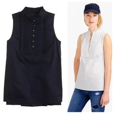 """J.Crew PLEATED BIB TOP NWT, Color: Navy, Tiny crisp pleats and face-framing ruffles create instant polish in a pinch—and help you look alive for that 9am meeting. Cotton with a hint of stretch. Machine wash. Body length: 27"""". runs large J. Crew Tops"""