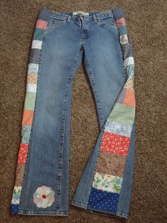 Handmade Hippie Patchwork Jeans - Flower Patch - Womens