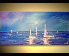 Blue Wide Ocean Original Abstract Painting On Canvas Fine Art  by Osnat 40x20. $425.00, via Etsy.