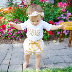 Baby Girl 1st Birthday Outfit | Girls First Birthday Outfit Pink | Pink & Gold Polka Dot High Waisted Bloomers Outfit with Gold One