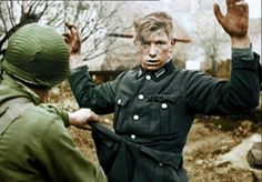 US troops search captured German army soldier. Shocked and aware his war is now over. Casualties Of War, Prisoners Of War, German Soldiers Ww2, German Army, Ww2 Photos, History Photos, World History, World War Ii, Interesting History