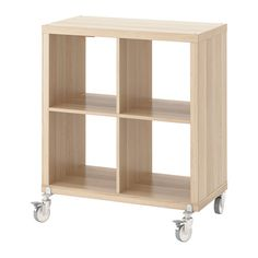 KALLAX Shelving unit on castors, white stained oak effect white stained oak effect 77x89 cm